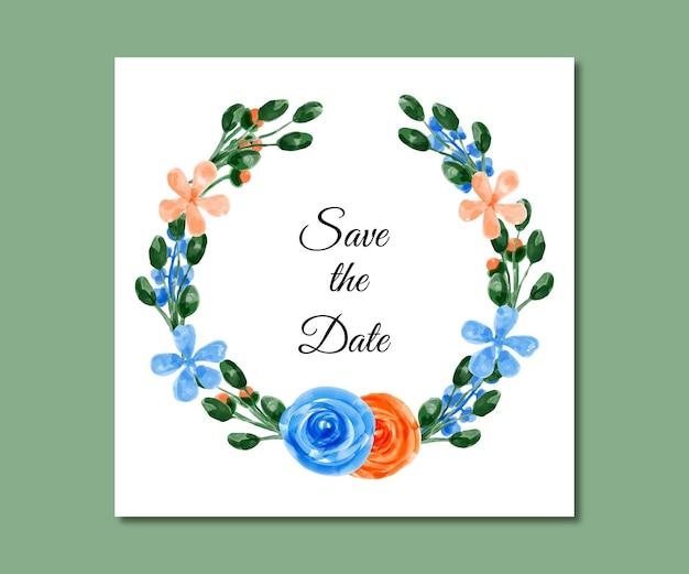 日付を保存する水彩画の青オレンジ色の花
