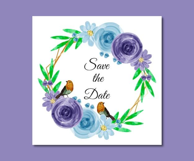 日付を保存する水彩画の青紫の花