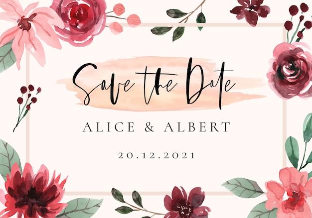Акварельная рамка save the date с темно-красными цветами
