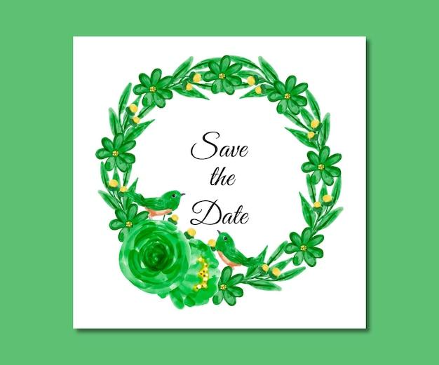 日付を保存する水彩画の緑の花