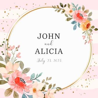 日付を保存します金色の円で水彩ピンクの花の花輪
