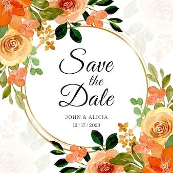 日付を保存。金色のフレームと水彩のバラ