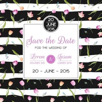 花のチューリップの花で日付のウェディングカードを保存します