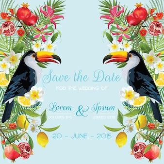 熱帯の花、果物、オオハシの鳥と一緒に日付のウェディングカードを保存します。花の背景