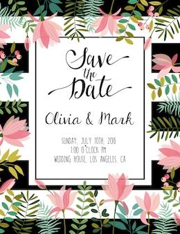 日付の結婚式のカードを保存します。