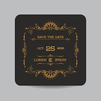 Сохранить дату - пригласительный билет на свадьбу - винтажный стиль ар-деко