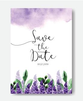 美しい紫色の水彩スプラッシュと花で日付の結婚式の招待カードのテンプレートを保存します