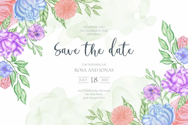 バラの花のフレームで日付の結婚式の招待カードのテンプレートを保存します