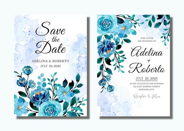 日付を保存。青い花の水彩画と結婚式の招待カード
