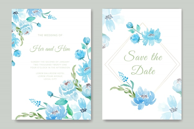 푸른 꽃과 날짜 결혼식 초대 카드를 저장