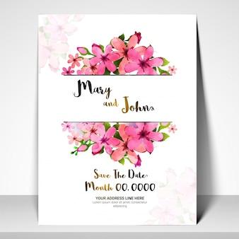 Сохраните дату, пригласительный билет на свадьбу с розовыми цветами.