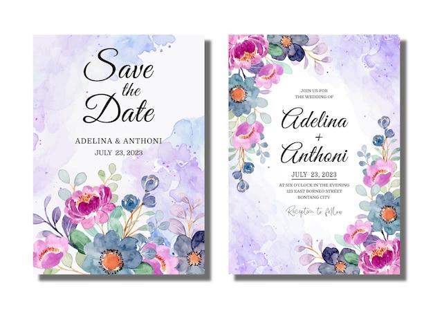 날짜를 저장하십시오. 보라색 꽃 수채화와 결혼식 초대 카드 프리미엄 벡터