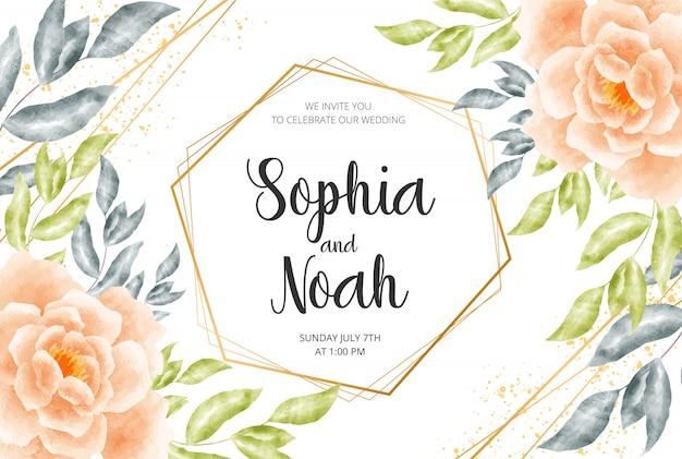日付、水彩花、葉、枝を持つ結婚式の招待カードを保存します。
