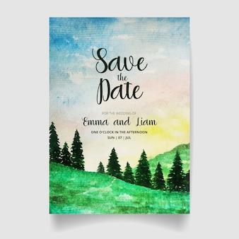 Сохраните дату, свадебный пригласительный билет с акварельным лесом и небом.