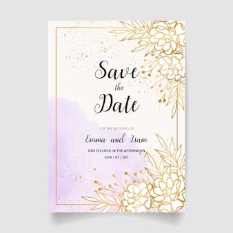 日付、結婚式の招待状を保存します