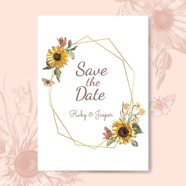 Сохраните вектор макет приглашения на свадьбу