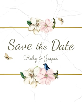 Save the date wedding invitation mockup