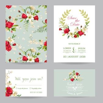 日付の結婚式の招待状またはお祝いカードセットを保存します。バラとユリの花のテーマ