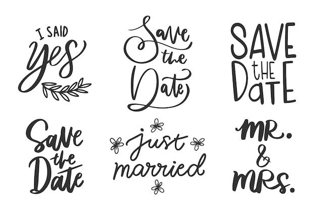 日付の結婚式のレタリングを保存