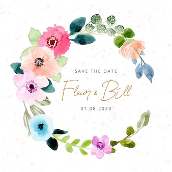 Save the date with beautiful watercolor floral wreath