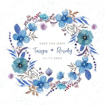 青い花の花輪の水彩画で日付を保存します