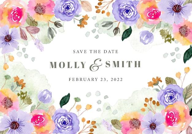 Сохранить дату с красочными цветами и акварелью