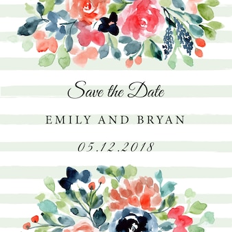 Save the date with floral and stripe background