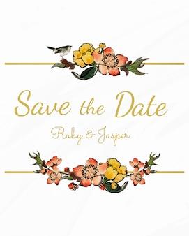 花のデザインベクトルと日付を保存する