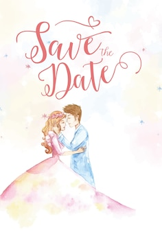 Save the date with princess and prince