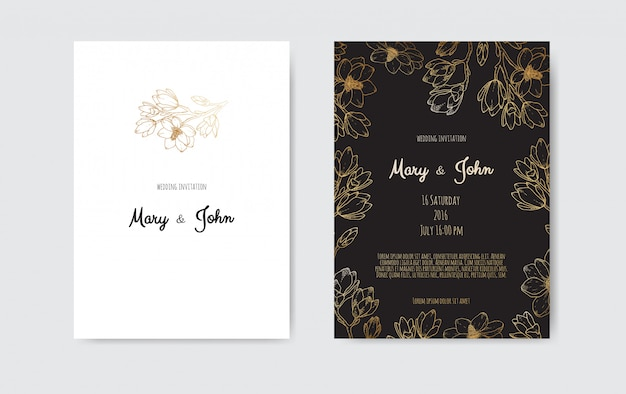 Роскошная свадьба save the date, коллекция пригласительных билетов с цветами и листьями венок.