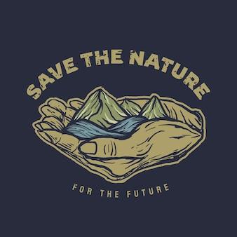 Спасите природу с рисованной иллюстрацией