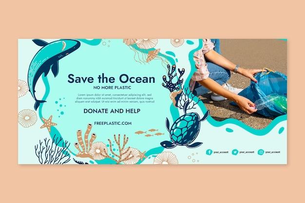 Сохраните шаблон горизонтального баннера океана