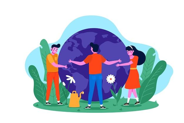지구를 포옹하는 사람들과 행성 개념을 저장