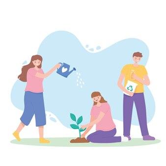 지구를 구하고, 물을 수있는 사람, 식물 심기 및 재활용 제품 벡터 일러스트 레이션