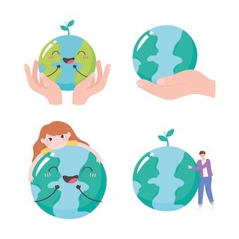 地球を救い、地球地図の手と人々のケアアイコンのイラストを設定します