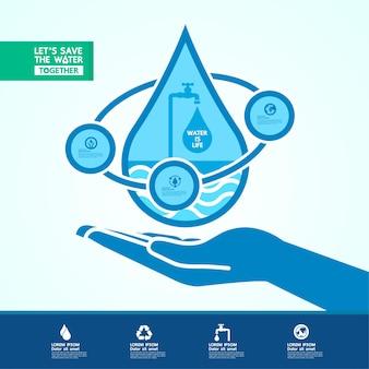 녹색 생태 세계 배너에 대한 물 절약
