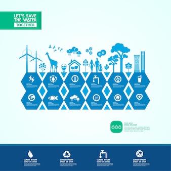 Сохраните воду для зеленой экологии мира векторные иллюстрации