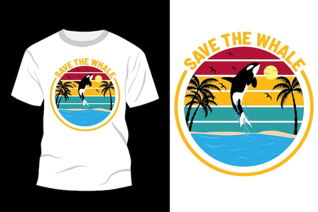 クジラのtシャツのデザインを保存するヴィンテージレトロ