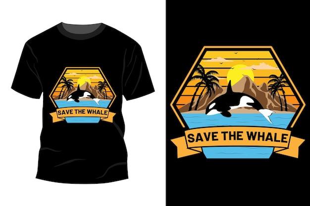 クジラのtシャツのモックアップデザインのヴィンテージレトロを保存します