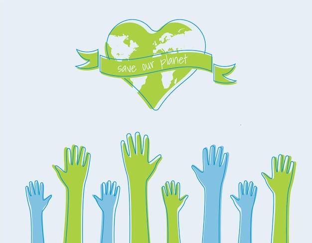 Спасите мир концепция экологии. силуэты поднятых рук. подходит для плакатов, листовок, баннеров на день земли. векторная иллюстрация, изолированных на фоне.