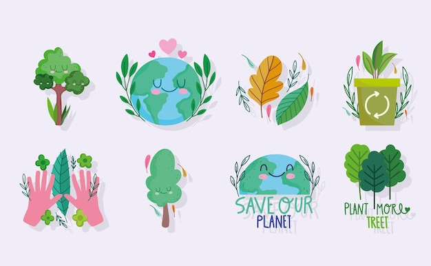 세상을 구하고, 생태 식물 나무와 재활용 세트
