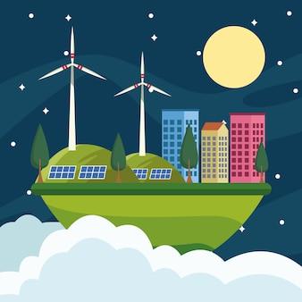 夜のエコシティで世界の環境ポスターを保存する