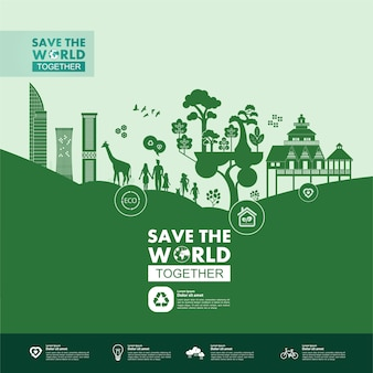 緑のエコロジーイラストを一緒に世界を救います。