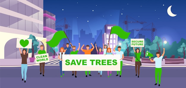 Save trees social protest event flat vector illustration