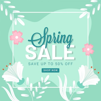 Save up to 50% off for spring sale poster design decorated with flowers and leaves.