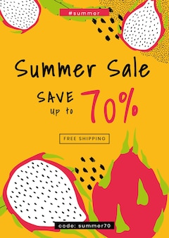 Шаблон летней распродажи до 70%
