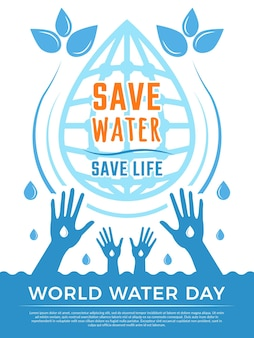 물을 절약하십시오. 아쿠아 액체는 물의 날에 대한 의료 포스터 개념 그림을 삭제합니다.