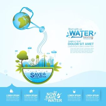 Сохранить воду синий фон.