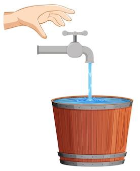 수도꼭지에서 떨어지는 물로 물 개념 저장