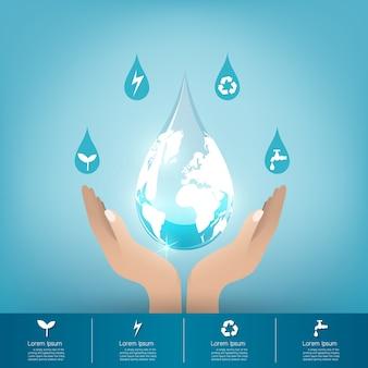 水のコンセプトを保存する。